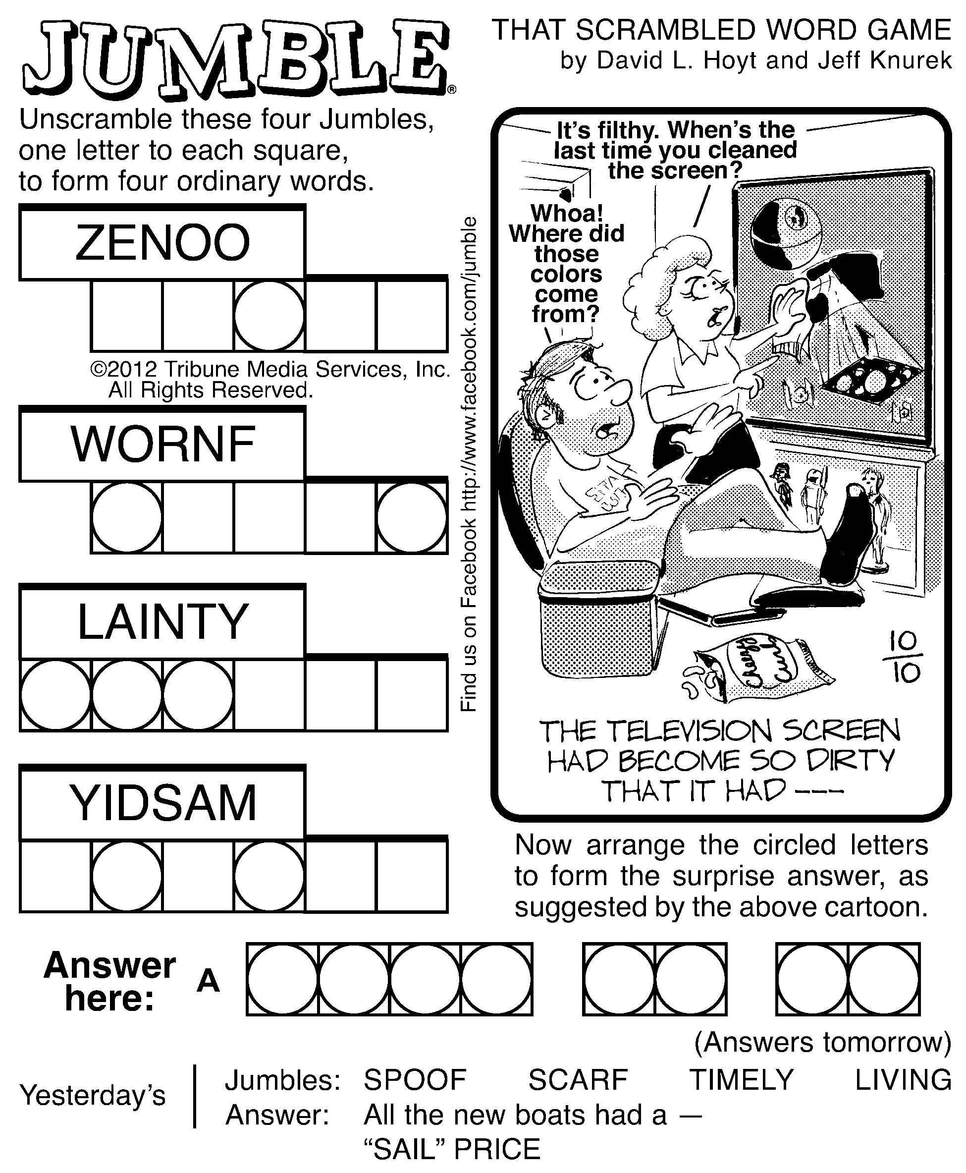 This is a graphic of Handy Printable Jumble Puzzles