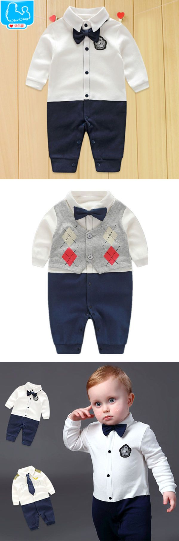 Handsome Baby Rompers Newborn 0-18M Gentleman Clothing Set Infant Bow Tie Clothes