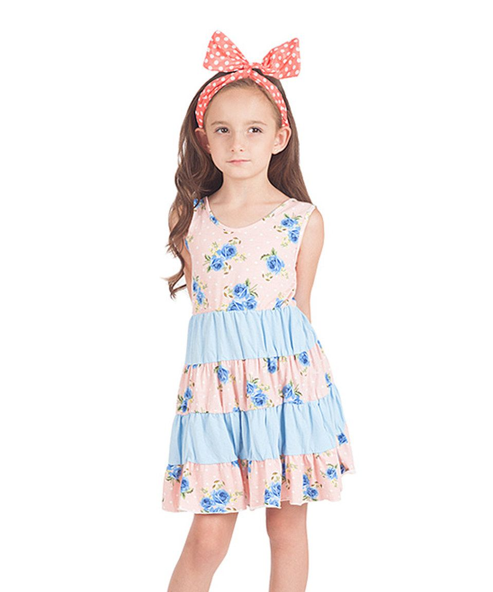 28e8d37a2b Sunshine Swing Pink   Blue Floral Tiered Dress - Toddler   Girls by  Sunshine Swing  zulilyfinds