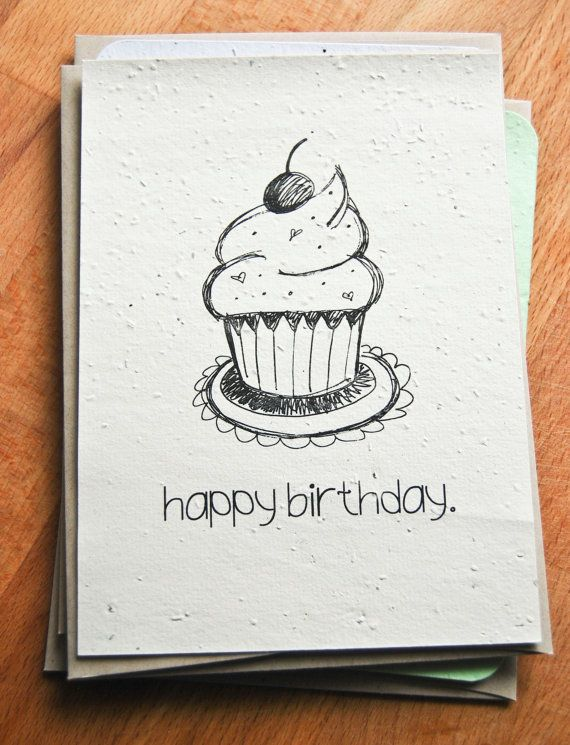 Plantable Seed Paper Happy Birthday Card, Hand Illustrated ...