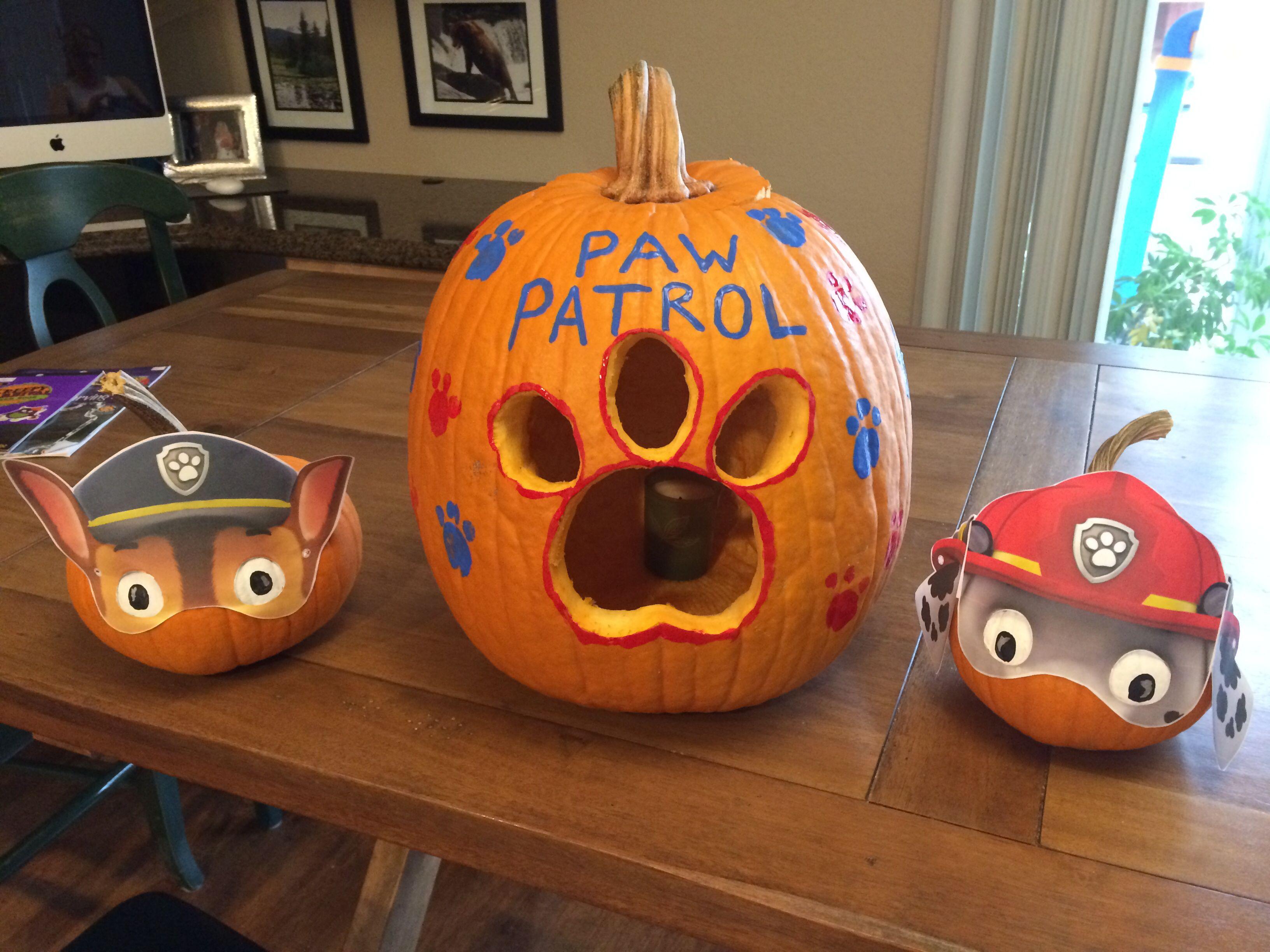 paw patrol pumpkins used nick jr printed masks and paint for eyes