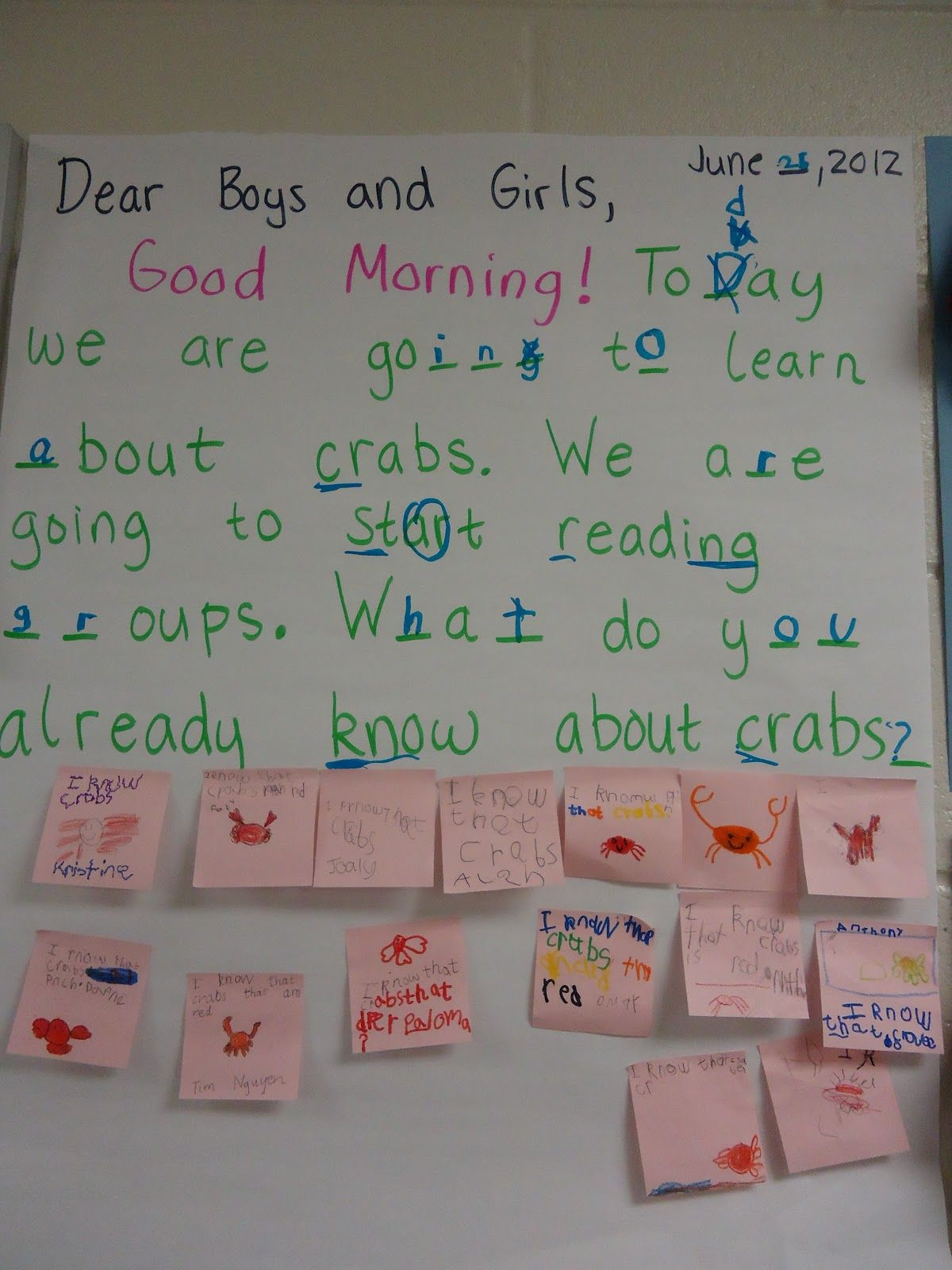Morning Message Examples For First Grade Reading