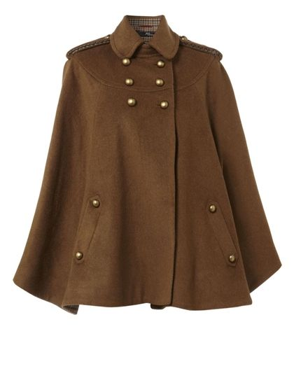 tweed contrast cape coat - StyleSays    Reminds me of the old WWII era nursing capes!