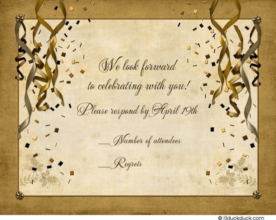 Festive Party Response Cards Celebration Gold Reply Wedding