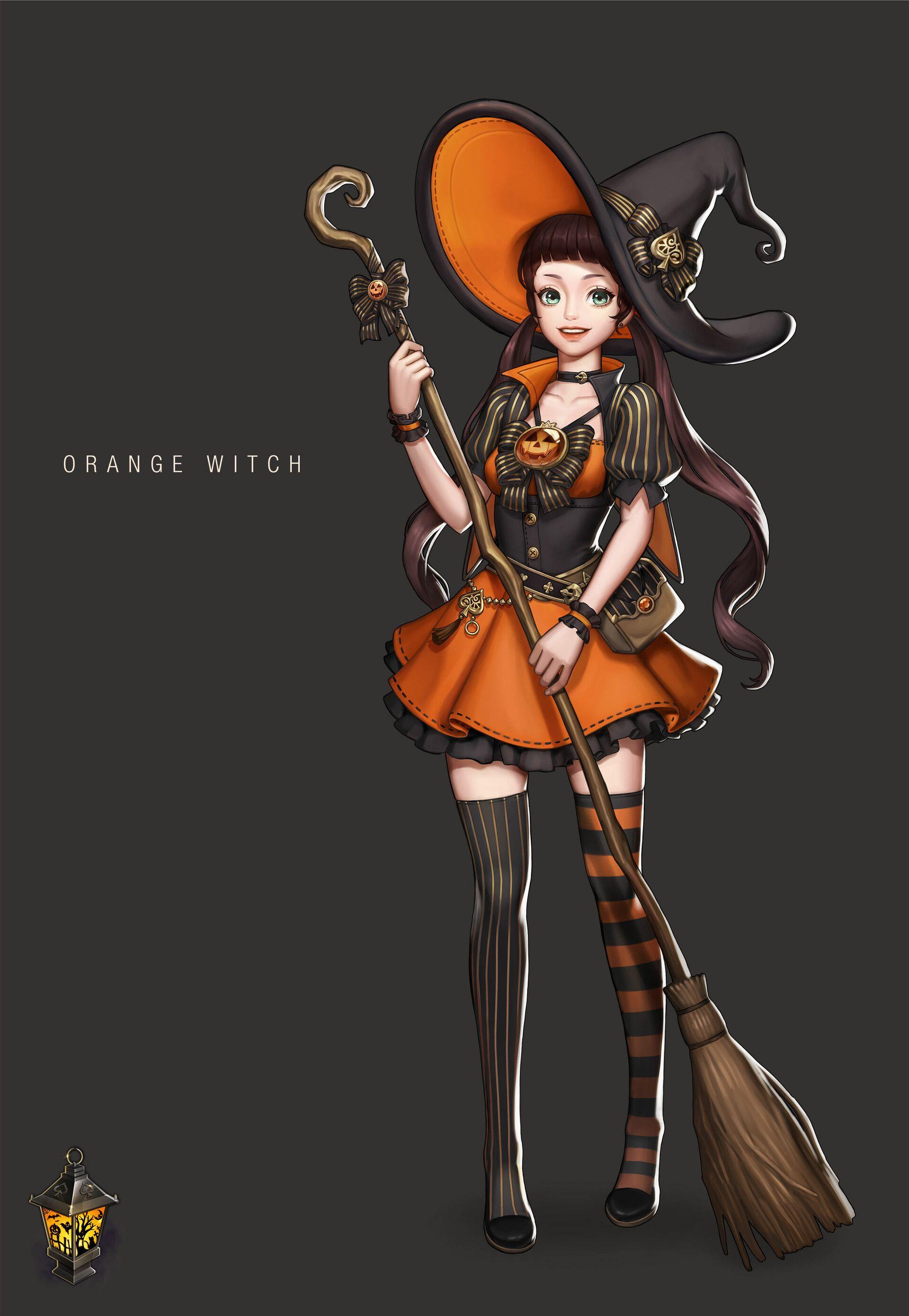 Artstation orange witch yoonart witch aesthetic
