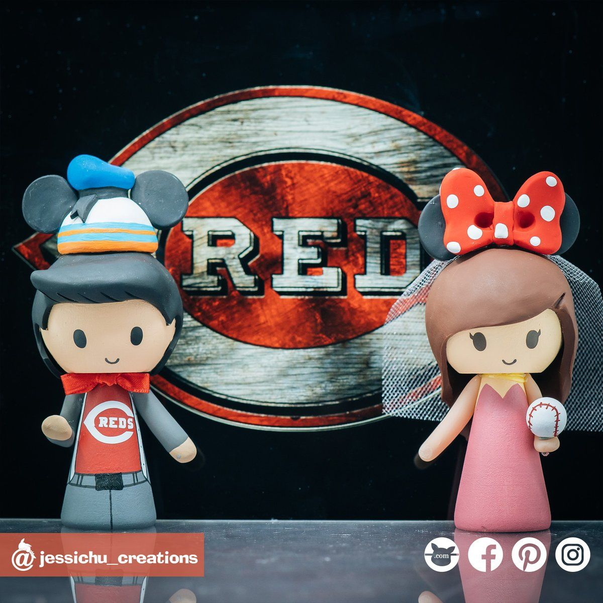 Cincinnati Reds Baseball Bride And Groom With Donald Mickey Hat Minnie Ears Custom Made Figurine Wedding Cake Topper In 2020 Wedding Cake Topper Figurines Handmade Wedding Cake Toppers Wedding Cake Toppers