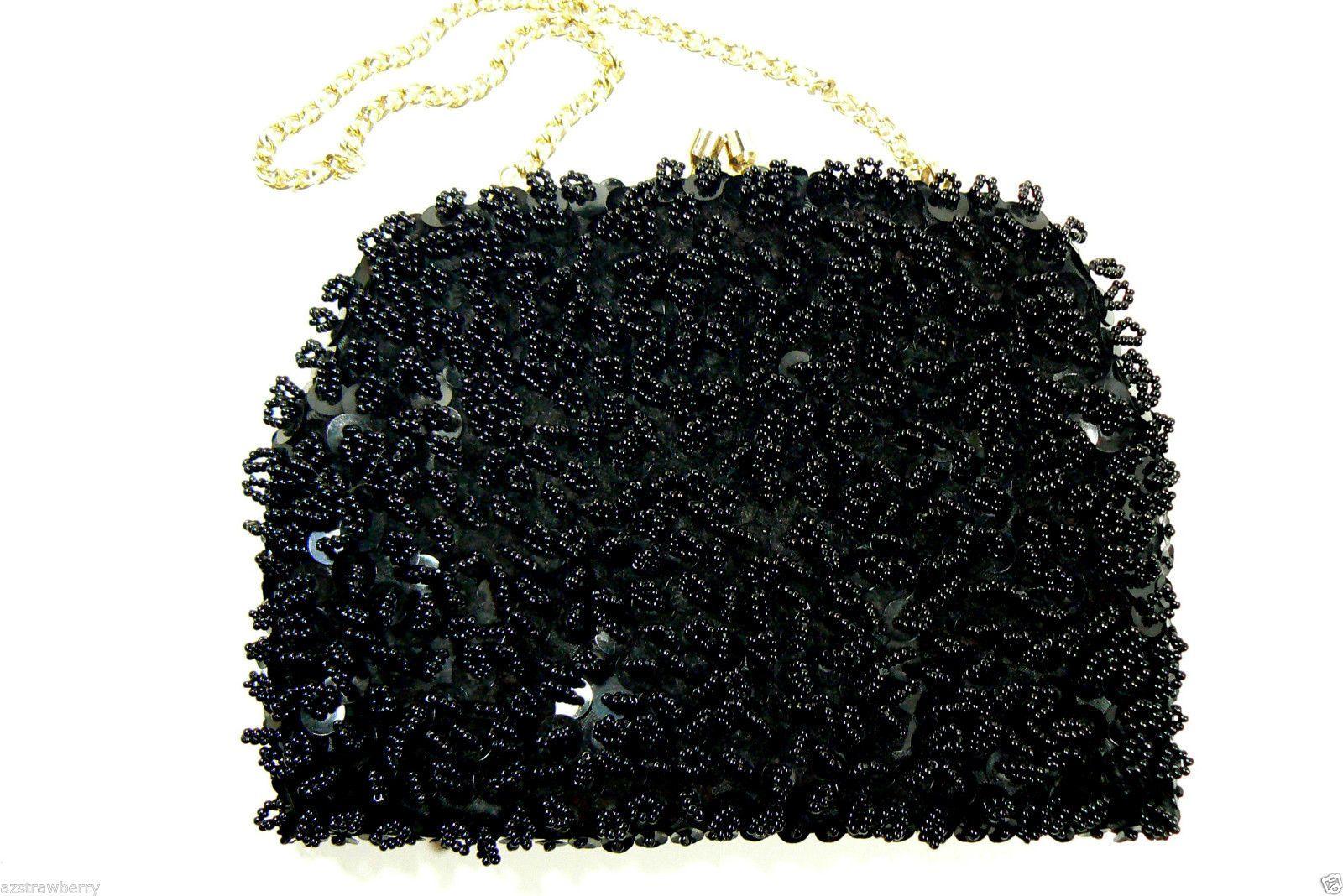 Vintage Hong Kong Black Glass Beads Small Evening Purse Hand Bag Clutch $0 SHIP | eBay