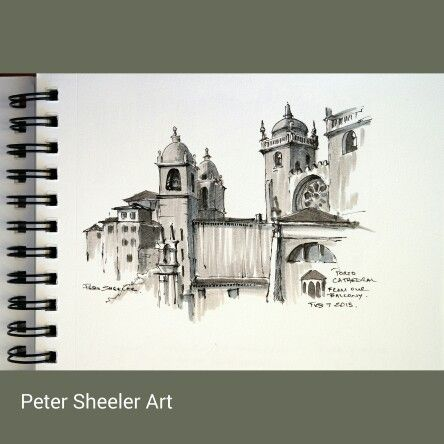 """"""" Porto Cathedral """". Urban sketch. Painted from the best balcony in Porto. If you're ever in Porto, I highly recommend this apartment. Check it out. https://m.youtube.com/watch?v=JJ9c4VWbMtY www.ebay.ca/usr/sheelerart . #city #town #cityscape #urban #buildings #landscape #street #art #artist #original #watercolor #watercolour #miniature #painting #ebay #paintingaday #ink #pen #waterbrush #winsornewtonmarker #pleinaire #urbansketch #urbansketchers #cathedral #Porto"""