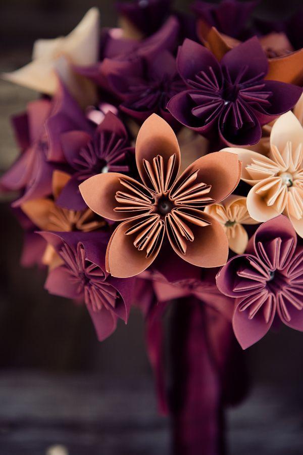Origami paper flower bouquet.