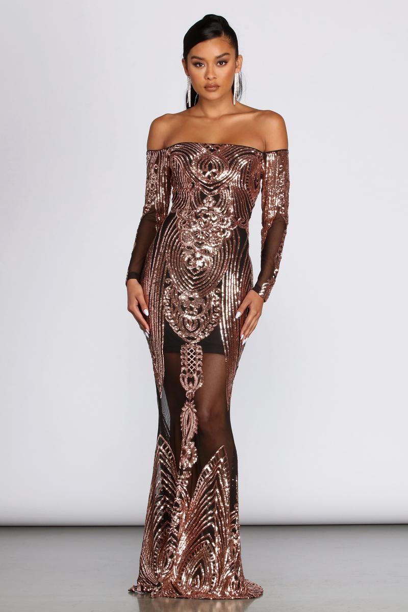 Leona Formal Long Sleeve Sequin Dress Dresses Long Sleeve Sequin Sequin Dress [ 1200 x 800 Pixel ]