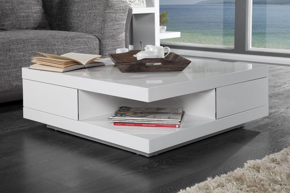 """Der Couchtisch ist ein liebevolles Detail in jedem Wohnzimmer. Unser exklusiver Couchtisch """"FUNCTION"""" in angesagter, weißer High Gloss Lackierung überzeugt vorallem durch gradliniges und stilvolles Design. Ausgestattet mit einer großen Ablagefläche und zwei Schubladen bietet der Tisch großzügigen Stauraum für DVD's, Zeitschriften oder Multimedia Zubehör. Die Schubladen öffnen sich leicht und komfortabel dank integrierter Touch Open Funktion."""