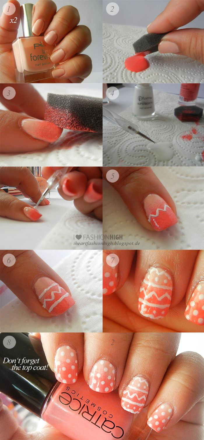Peach & orange gradient / fade with dots nail art design (Easter egg ...
