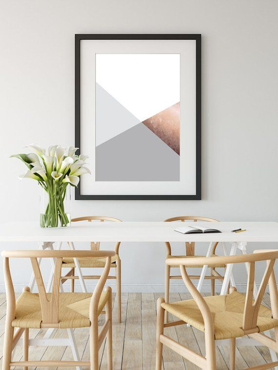 Printable Art, Grey Copper Geometric Print, Wall Poster, Digital Art