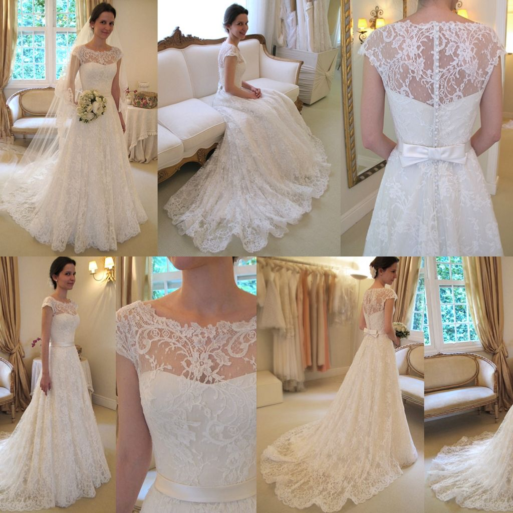Viasposa crystal wedding dresses beaded lace applique long