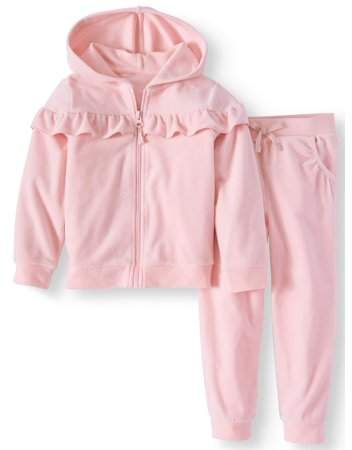 b9df84d2e Wonder Nation Toddler Girls' Ruffle Velour Track Suit, 2pc Outfit Set