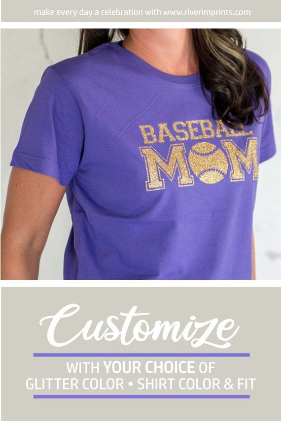 f7eeb83bd Glitter BASEBALL MOM Womens Shirt, Baseball Bling, Ladies Sparkle Baseball  Mom Tee Shirt