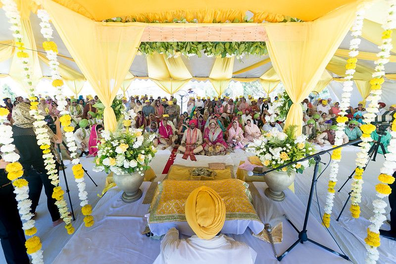 Green Yellow Theme Outdoor Sikh Wedding And Laavan In California