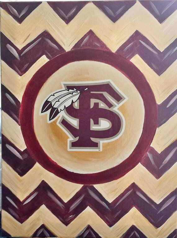 Florida State Chevron Acrylic Painting 8x10 For 15 00 And 16x20 25 Other Team Color By Honeez Check Out My Etsy