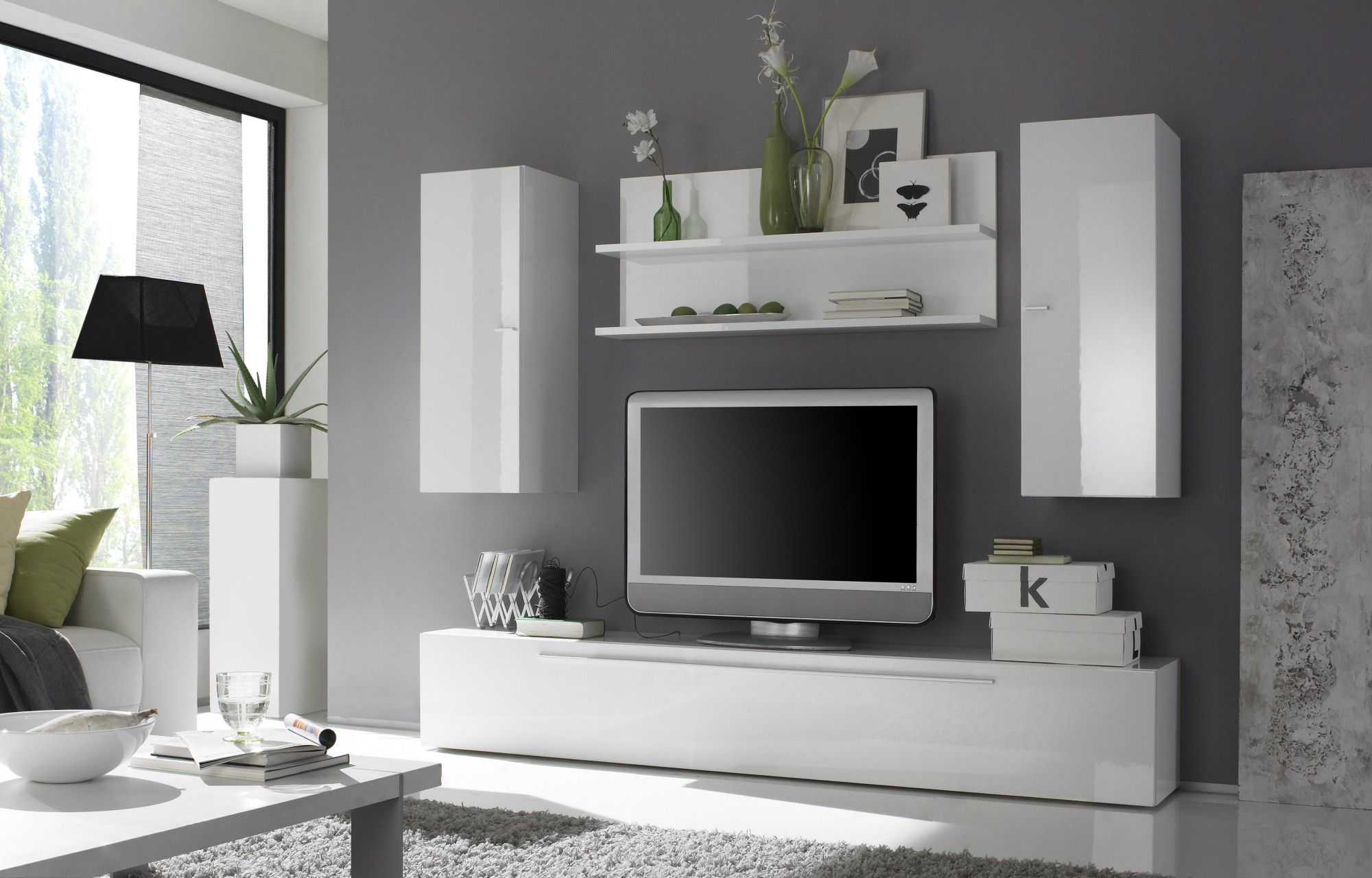Contemporary Entertainment Center with Hanging Units | Media