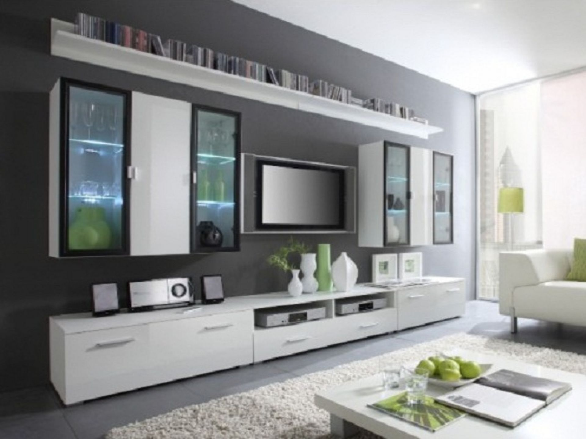 Three Level Mounted TV Wall Units With White Cabinet Ideas Interior Design