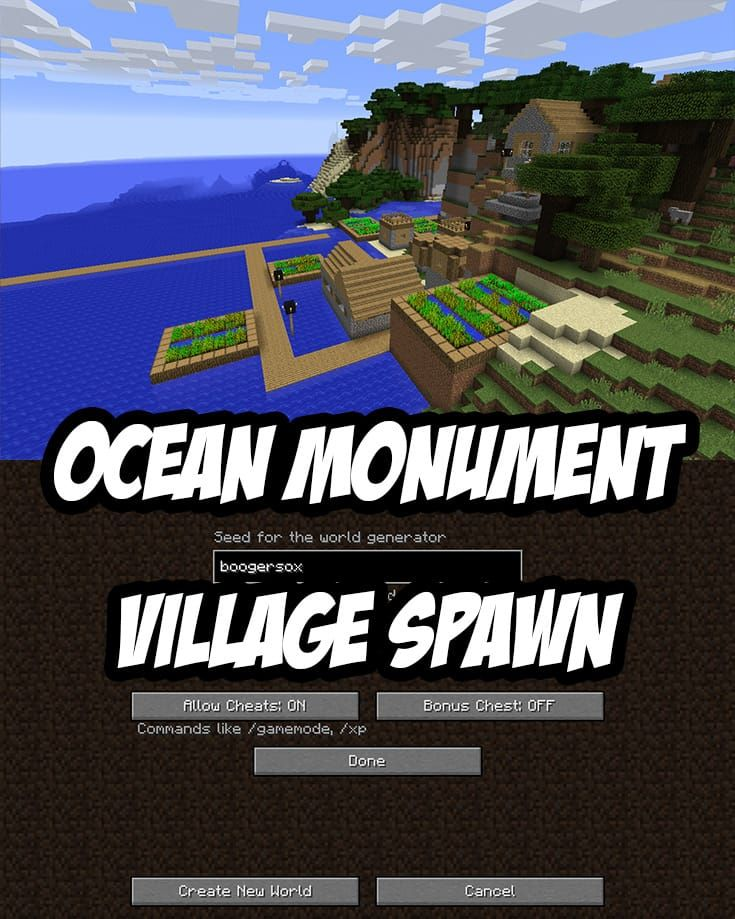 Ocean Monument Near Oceanside Village With Images Minecraft