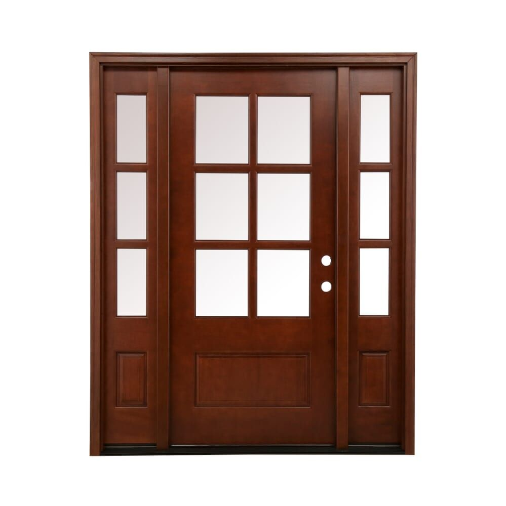 Steves Sons 64 In X 80 In Savannah Clear 6 Lite Lhis Mahogany Stained Wood Prehung Front Door With Double 12 In Sidelites M6410 123012 Ct 4ilh With Images Mahogany Exterior Doors Wood Front