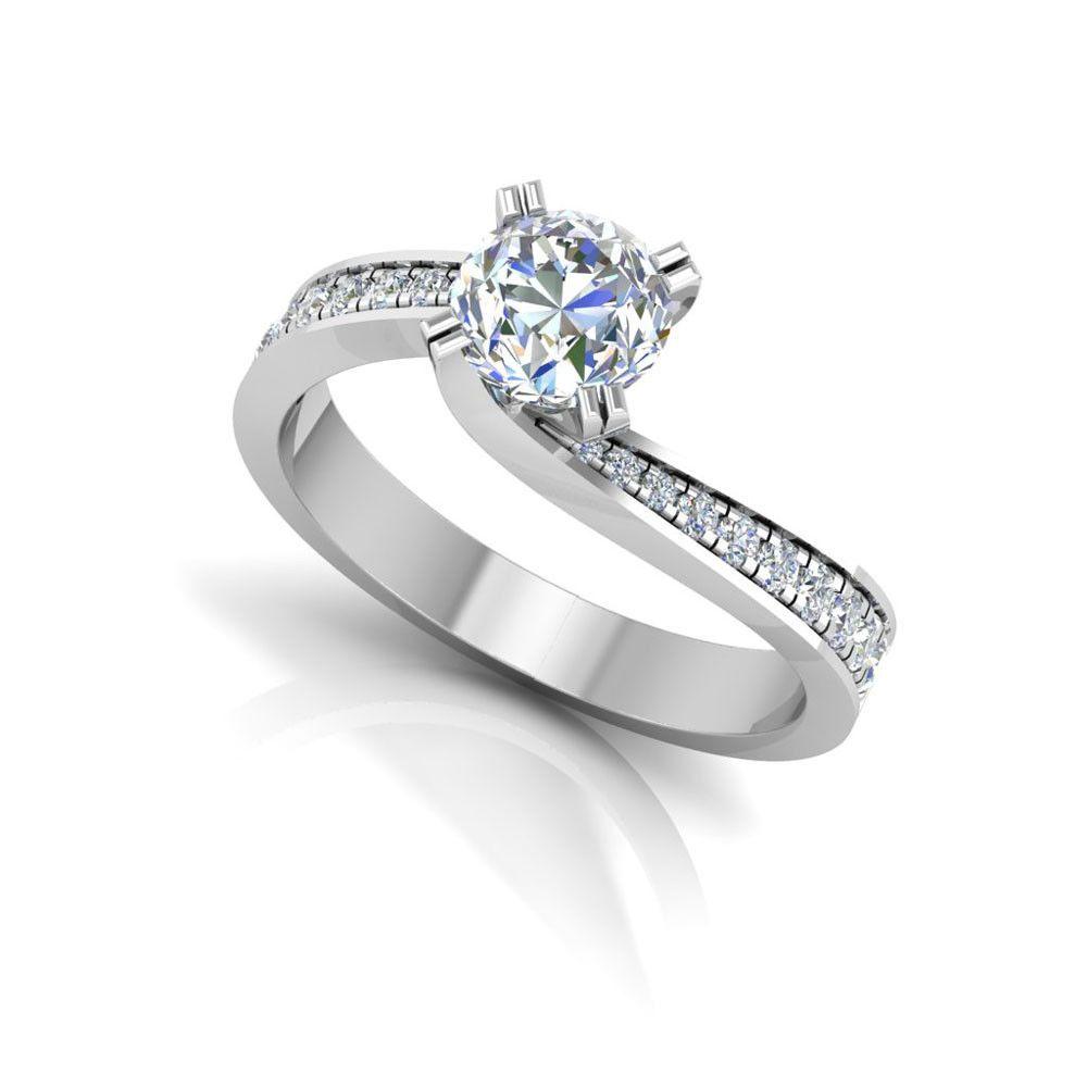 0 57 Ct Diamond Engagement Wedding Ring 1k White Gold Rings Round Size 7 8 9