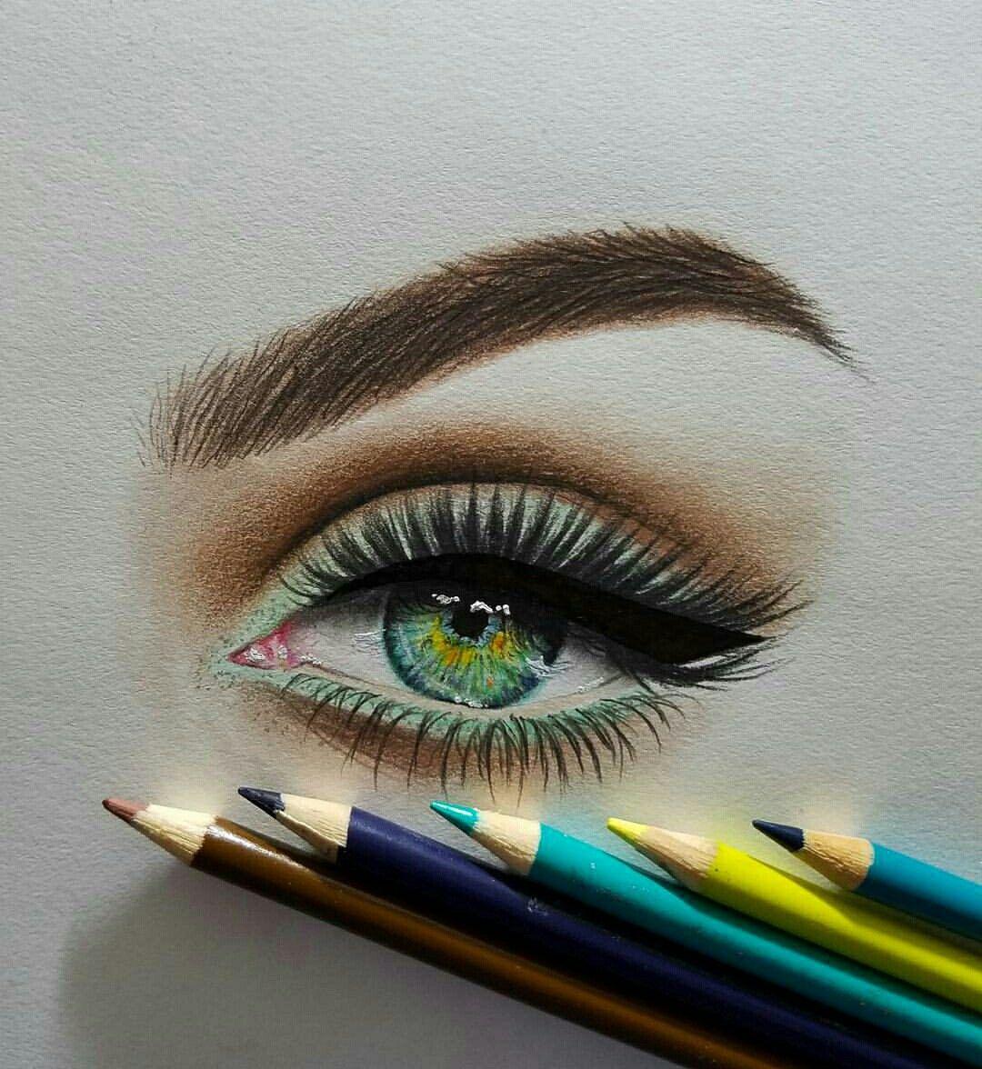 Картинки с зелеными глазами с карандашом
