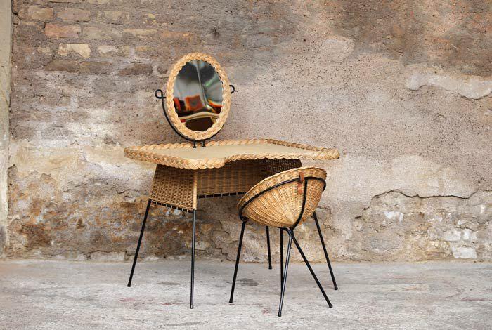 Coiffeuse Rotin 50s Dressing Table Set Design Decor
