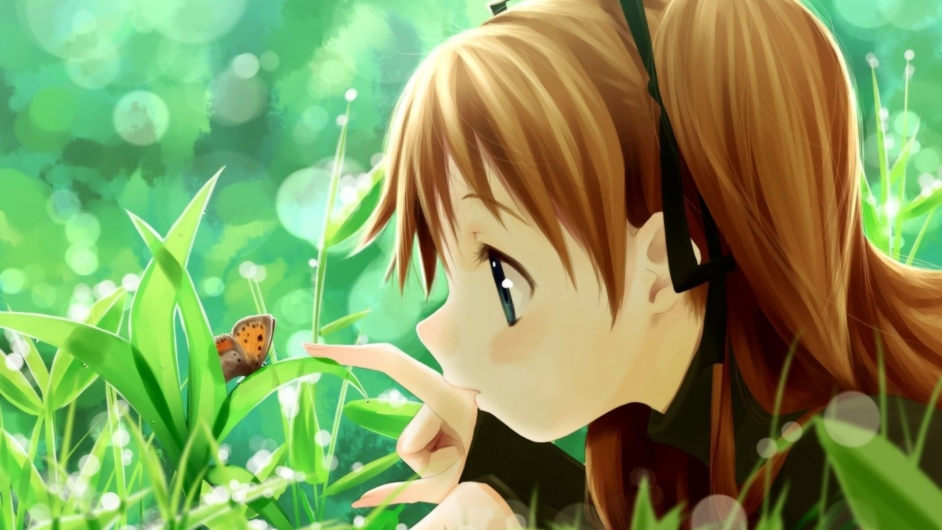 Download Wallpaper 1920x1080 Girl, Summer, Butterfly ...