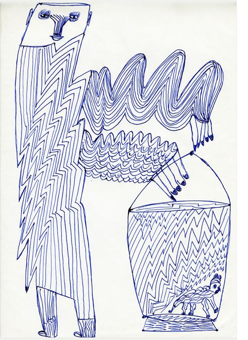 """Trembling Man"". The incredible figures of Ernst Kolb, important german outsider artist (1927– 1993) are mostly unknown.  This might change shortly. In Dezember 2012, the renown «Collection de l'Art Brut», Lausanne, has bought 26 drawings for its collection and the magazin RAWVISION will present an article on Kolb and his drawings in the next issue (No.79). Kolb has left about 1000 drawings – right now more than 100 can be discovered on www.artbrut.li and www.aussenseiterkunst.ch"