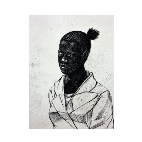 """Kerry James Marshall: Untitled (Woman), 2010 limited edition of 59 print. Known for his celebration of blackness in America, this intimate print by Marshall is available for purchase at The Met Store in celebration of The Met Breuer exhibition, """"Kerry James Marshall: Mastry."""""""