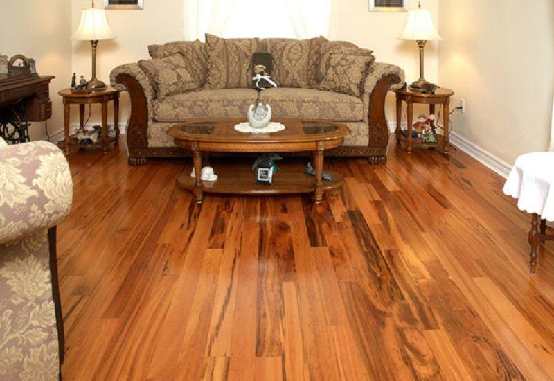 Elegant Living Room With Brazilian Koa Tigerwood Flooring Walnut Hardwood Flooring Tigerwood Flooring Wood Floors