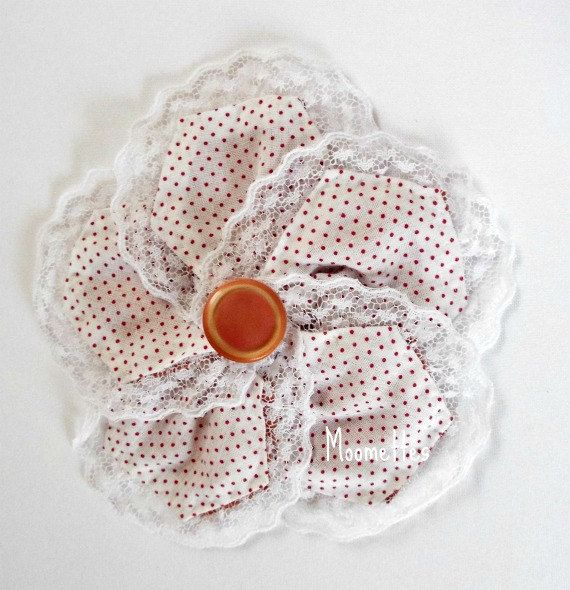 Large Fabric Hair Clip Peach White Polka Dot Button Lace Trim Photo Prop Girls Barrett #Hair Accessories Handmade