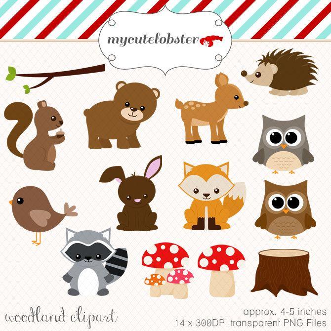 Woodland Clipart Set - clip art set of woodland animals ...