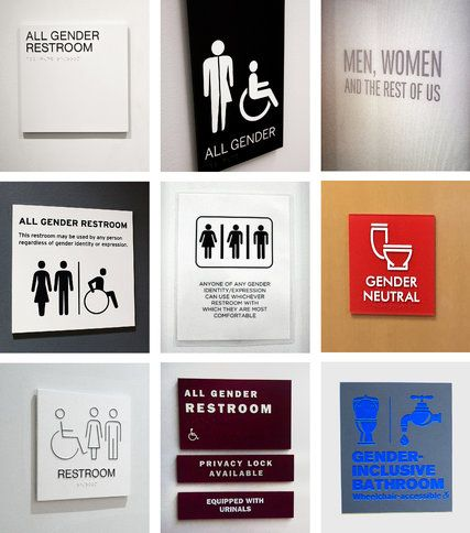 Restaurant Bathroom Signs in all-gender restrooms, the signs reflect the times | gender