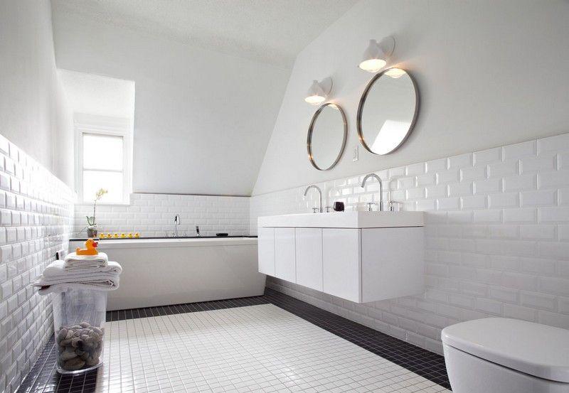 Carrelage Métro Blanc Dans La Cuisine Et La Salle De Bains - Carrelage metro salle de bain
