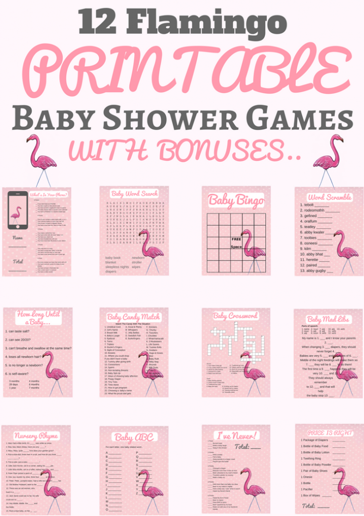 Flamingo Baby Shower Printable Games Plus Banner Isa Pinterest