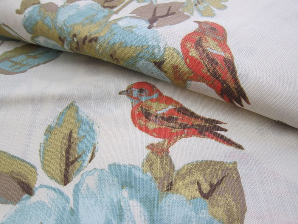 ENVOGUE Floral Bird Window Curtain Panels Set Of 2 Drapes Pair 96 Teal Gold NEW