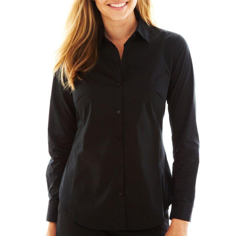 b992ddc9d27 Worthington Long Sleeve Button-Front Shirt-Talls