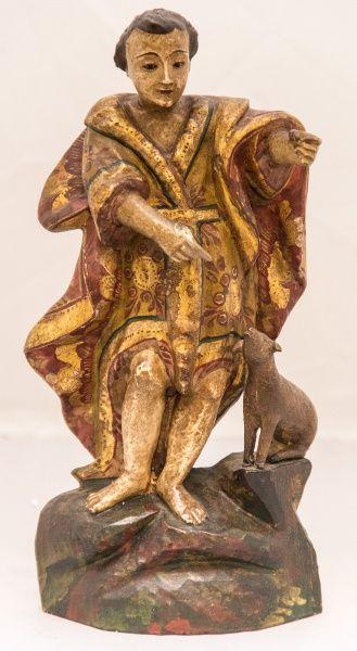 Imagem de madeira policromada, São João Batista Menino. Bahia, século XIX. Alt. 26cm. Não vendido. Base 500,00.