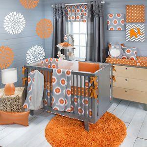 Sweet Potato Rhythm Baby Bedding Crib Set 8pc Orange Grey