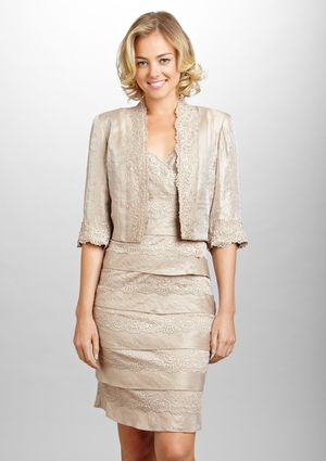 Km Collections Lace Detail Tiered Champagne Dress With Jacket