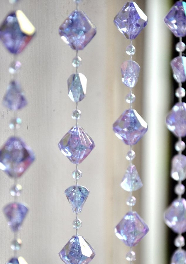 Lavender Gemstone Shape Beaded Curtain 8 Feet Beaded Curtains