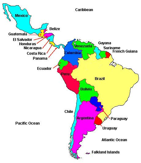 Map Latin America Latin America Map Countries