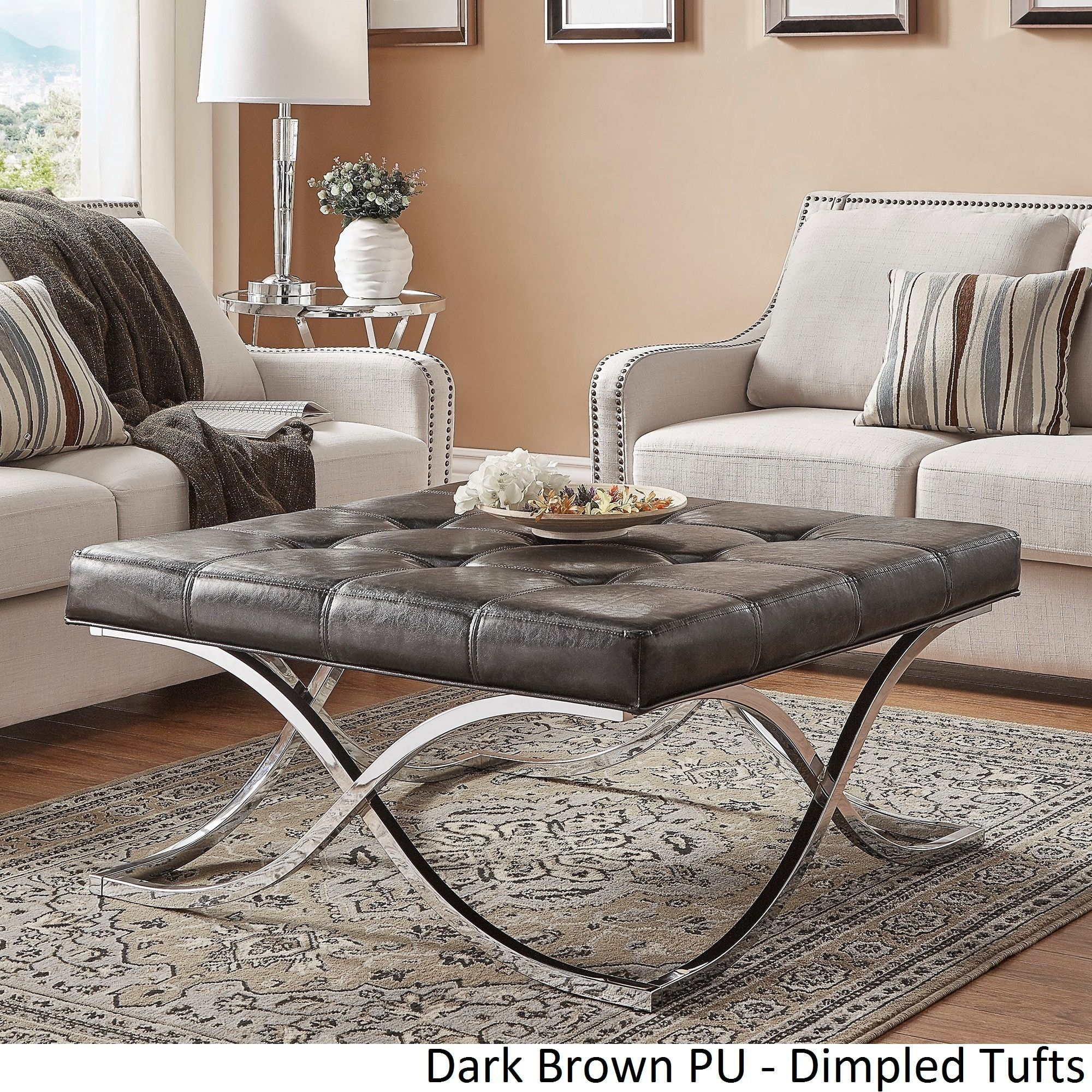 Solene X Base Square Ottoman Coffee Table - Chrome by Inspire Q ([Dark  Brown PU]- Dimpled Tufts)