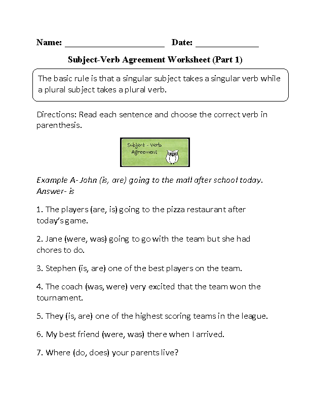 Subject Verb Agreement Quiz And Answer Key | CINEMAS 93
