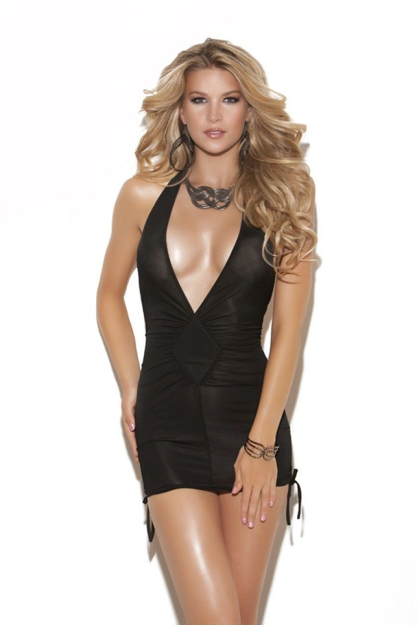 Elegant Moments Deep V Halter Neck Mini Dress with Adjustable ...