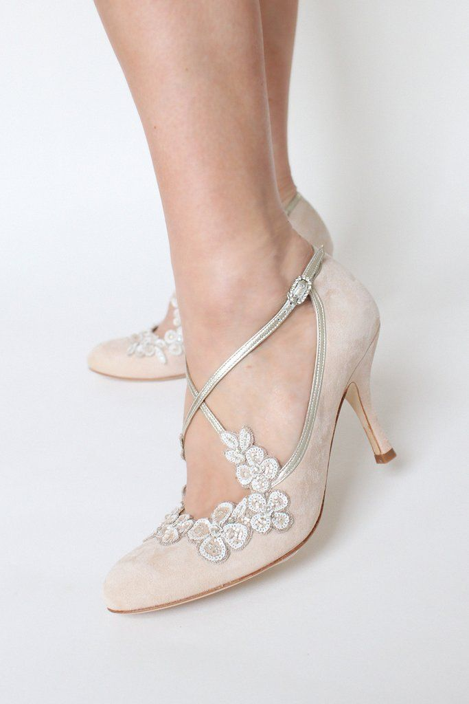 08d9693b36c Blossom Blush Bridal Shoe Emmy London Mid Heel Floral Embellishment by Emmy  London. Blossom Blush Bridal Shoe Emmy London Mid Heel Floral Embellishment  ...
