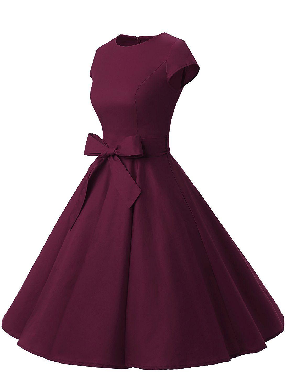50s Rockabilly Style Cap Sleeves Dark Purple Vintage Dress With Bowknot Elegant Dresses Short Cap Sleeve Prom Dress Vintage Purple Dress [ 1500 x 1100 Pixel ]